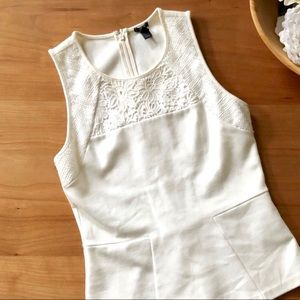 J Crew | White Peplum Mixed Lace Shell Size XXS